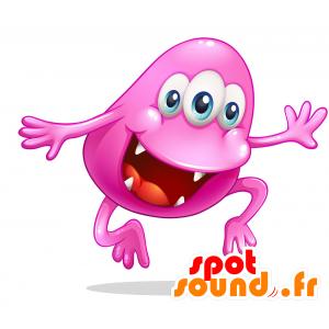 Mascotte de monstre rose, avec une grande bouche - MASFR030719 - Mascottes 2D/3D
