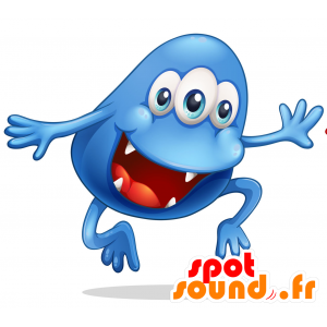 Blue monster mascot, 3 eyes with a big mouth - MASFR030720 - 2D / 3D mascots