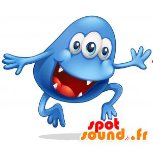 Mascotte de monstre bleu, à 3 yeux avec une grande bouche - MASFR030720 - Mascottes 2D/3D