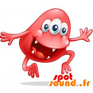 Mascotte de monstre rouge, à 3 yeux avec une grande bouche - MASFR030721 - Mascottes 2D/3D
