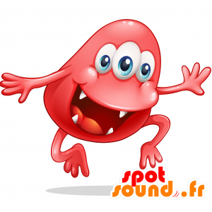 Red Monster Mascot, 3 eyes with a big mouth - MASFR030721 - 2D / 3D mascots