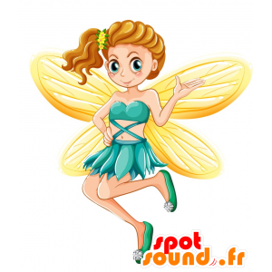 Fairy mascot girl with yellow wings - MASFR030722 - 2D / 3D mascots