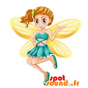 Mascotte de fée, de fille avec des ailes jaunes - MASFR030722 - Mascottes 2D/3D