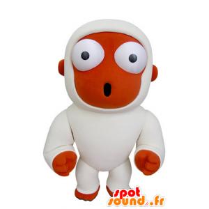 オレンジ色のサルのマスコットと驚きと白 - MASFR031000 - モンキーマスコット