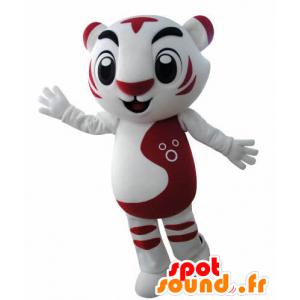 Mascotte de tigre blanc et rouge. Mascotte de félin - MASFR031001 - Mascottes Tigre