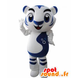 Mascot wit en blauw tijger. katachtige mascotte - MASFR031002 - Tiger Mascottes