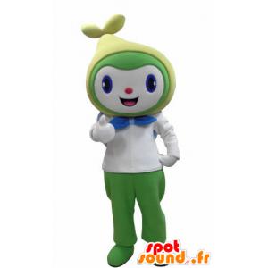 Schneemann Maskottchen lächelnd, weiß, grün und gelb - MASFR031004 - Menschliche Maskottchen