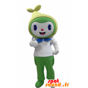 Snowman mascot smiling, white, green and yellow - MASFR031004 - Human mascots