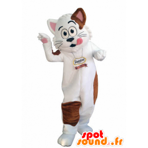 White and brown cat mascot. gourmet mascot - MASFR031005 - Cat mascots