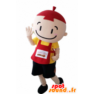 Mascotte d'enfant, de petit garçon avec un tablier et un bonnet - MASFR031006 - Mascottes Enfant
