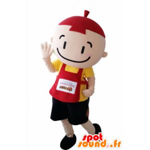 Mascot kind, kleine jongen met een schort en een muts - MASFR031006 - mascottes Child