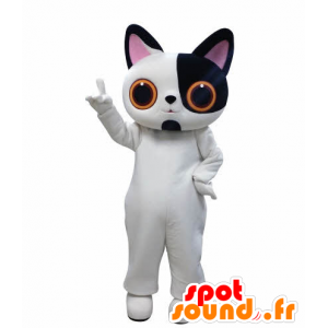 Hvit og svart katt maskot med store øyne - MASFR031009 - Cat Maskoter