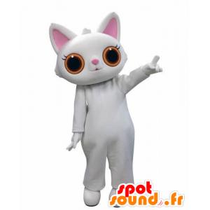λευκό μασκότ γάτα, με μεγάλα πορτοκαλί μάτια - MASFR031010 - Γάτα Μασκότ