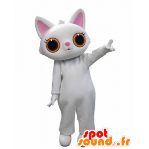 Witte kat mascotte, met grote oranje ogen - MASFR031010 - Cat Mascottes
