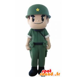 Mascotte de soldat, de militaire, avec un uniforme et un casque - MASFR031015 - Mascottes Humaines