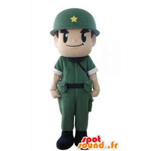Soldier mascot, military with a uniform and a helmet - MASFR031015 - Human mascots