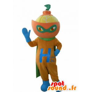 Orange Maskottchen als Superheld verkleidet. Mascot Zitrus