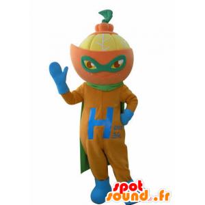 Pomarańczowy maskotka ubrana jak superbohater. maskotka cytrusowych
