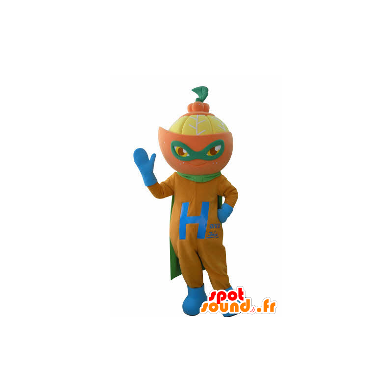 πορτοκαλί μασκότ ντυμένος ως superhero. μασκότ εσπεριδοειδών - MASFR031019 - superhero μασκότ