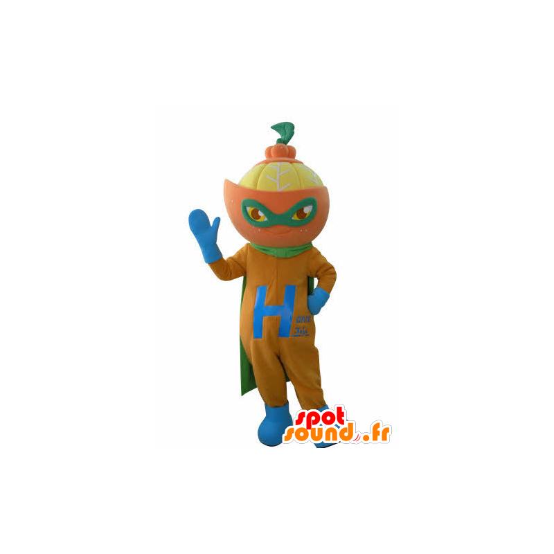 Mascotte d'orange habillée en super-héros. Mascotte d'agrume - MASFR031019 - Mascotte de super-héros