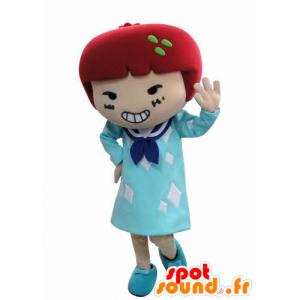 Mascotte de fillette en robe avec les cheveux rouges - MASFR031023 - Mascottes Garçons et Filles