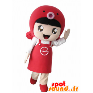 Girl mascot with an apron and a fish - MASFR031024 - Mascots boys and girls