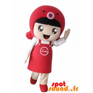 Mascotte ragazza con un grembiule e un pesce - MASFR031024 - Ragazze e ragazzi di mascotte