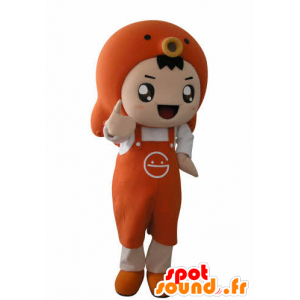 Boy mascot with an apron and a fish - MASFR031025 - Mascots boys and girls