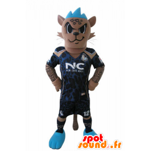 Mascotte de tigre en tenue de footballeur, avec une crête bleue - MASFR031027 - Mascottes Tigre