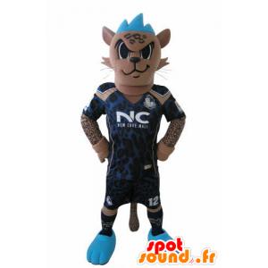 Mascotte van de tijger voetbal outfit met een blauwe kuif - MASFR031027 - Tiger Mascottes