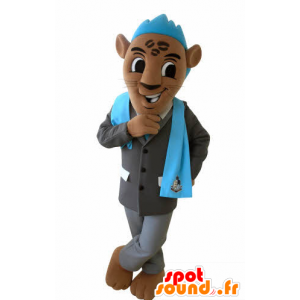 Mascotte de tigre marron avec un costume et une crête bleue - MASFR031028 - Mascottes Tigre