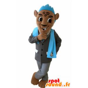 Tigre mascote marrom com um terno e uma crista azul - MASFR031028 - Tiger Mascotes