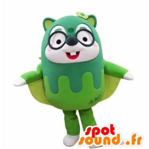 Mascotte d'écureuil volant vert, avec des lunettes - MASFR031029 - Mascottes Ecureuil