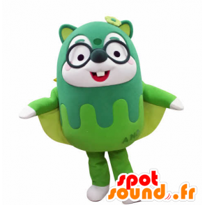 Green mascot flying squirrel, with glasses - MASFR031029 - Mascots squirrel