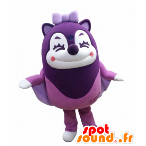 Mascot esquilo roxo voando no ar rindo - MASFR031030 - mascotes Squirrel