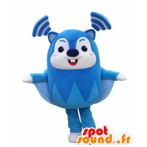 Mascotte d'écureuil volant bleu et blanc, très rigolo - MASFR031031 - Mascottes Ecureuil