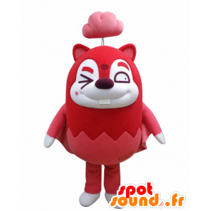 Mascot of red and white flying squirrel, with a cloud - MASFR031032 - Mascots squirrel