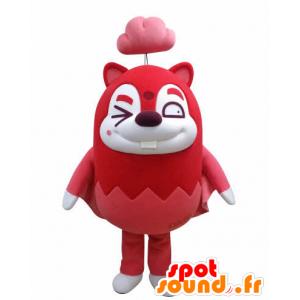 Mascot rød og hvit flygende ekorn med en sky - MASFR031032 - Maskoter Squirrel