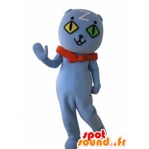 Μπλε γάτα μασκότ τοίχο μάτια. μπλε αρκουδάκι μασκότ - MASFR031033 - Αρκούδα μασκότ