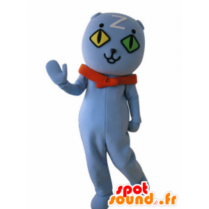 Blue Cat Mascot wall-eyed. blue teddy mascot - MASFR031033 - Bear mascot