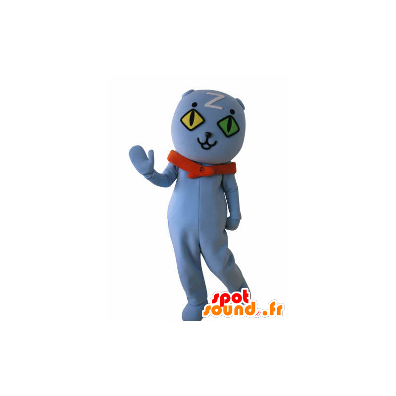 Blue Cat Mascot wall-eyed. blue teddy mascot - MASFR031033 - Bear mascot