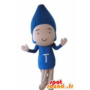 Funny snowman mascot, with blue hair - MASFR031035 - Human mascots
