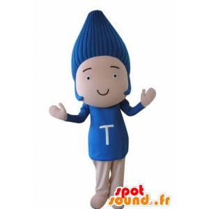 Grappige sneeuwman mascotte, met blauw haar - MASFR031035 - man Mascottes