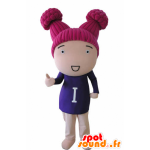 Doll mascot girl with pink hair - MASFR031037 - Mascots boys and girls