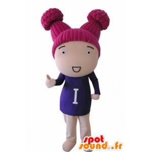 Nukke maskotti tyttö vaaleanpunainen hiukset - MASFR031037 - Maskotteja Boys and Girls