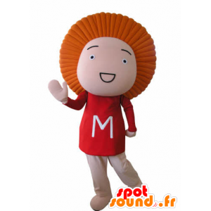 Hauska lumiukko maskotti, oranssi tukka - MASFR031038 - Mascottes Homme