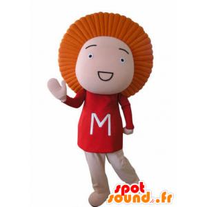 Legrační sněhulák maskot s oranžovými vlasy - MASFR031038 - Man Maskoti