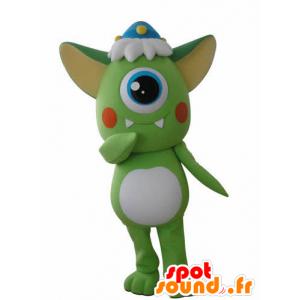 Mascotte d'extra-terrestre cyclope vert et blanc - MASFR031046 - Mascottes animaux disparus