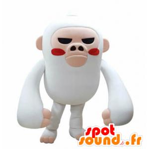 Branco e rosa macaco mascote olhar feroz - MASFR031047 - macaco Mascotes