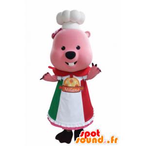 Bever mascotte, groundhog met roze toque en schort - MASFR031048 - Beaver Mascot